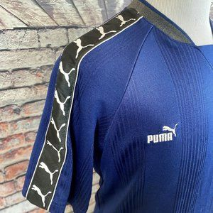 PUMA Vtg 90s Retro Blue Sleeve Taped Soccer Jersey